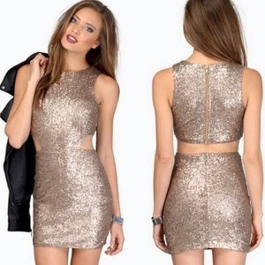Silver sequins bodycon dress with cutout